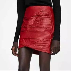 Zara Red Faux Leather Mini Skirt